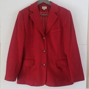 LL Bean red wool cashmere blend peacoat 10P